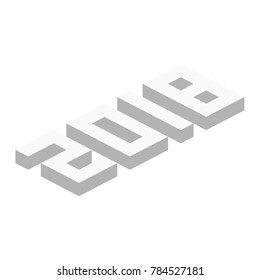 Axonometric or isometric numbers featuring 2018 in gray with shadow to show depths in vector format