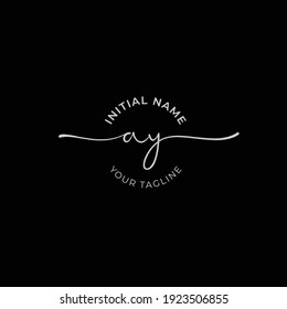 ay Initial handwriting signature logo vector. Hand lettering for designs