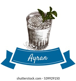 Ayran colorful illustration. Vector illustration of turkish cuisine.