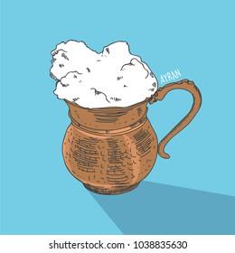 Ayran, Doogh, cold savory yogurt-based beverage, national drink, illustration eps 10