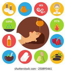 Ayurveda, ayurvedic treatment set. Sirodhara, oil massage and spa procedures. Vector illustration