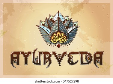 Ayurveda and blue lotus concept. Indian ethnic henna effect. Template for mehndi ornament. Hand drawn doodle, vector illustration.