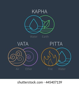 Ayurveda vector elements and doshas icons. Vata, pitta, kapha doshas. Ayurvedic body types. Template for ayurvedic infographic and web site, doshas symbols. Alternative medicine
