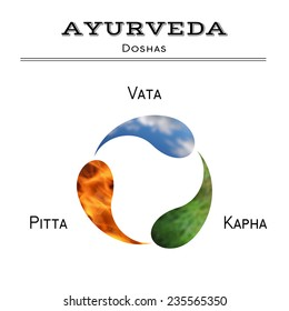 Ayurveda vector illustration. Ayurveda doshas. Vata, pitta, kapha doshas as air, fire and plants. Ayurvedic body types. Ayurvedic infographic. Healthy lifestyle. Harmony with nature.