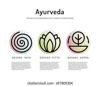 Ayurveda vector illustration doshas vata, pitta, kapha. Ayurvedic body types. Ayurvedic infographic. Healthy lifestyle. Harmony with nature.