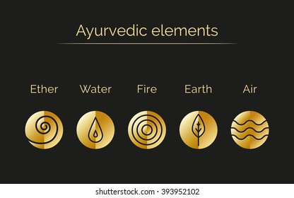 Ayurveda vector illustration with gold texture. Ayurvedic elements: water, fire, air, earth, ether. Ayurvedic symbols in linear style. Alternative medicine. Infographic with flat icons.