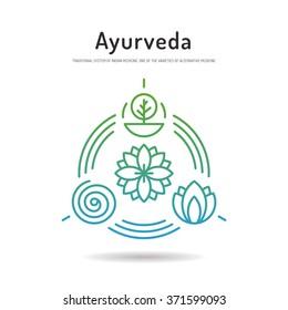 Ayurveda vector illustration icon vata, pitta, kapha. Ayurvedic body types. Ayurvedic infographic. Healthy lifestyle. Harmony with nature. Alternative medicine