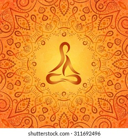 ayurvedic body in frame of indian style on orange background, vector illustration