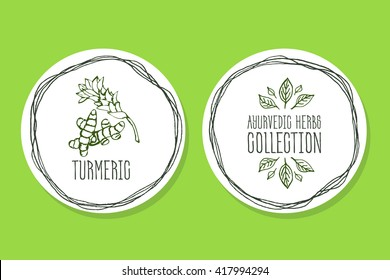 Ayurvedic Herb Collection. Handdrawn Illustration - Health and Nature Set. Natural Supplements. Ayurvedic Herb - Label with Turmeric