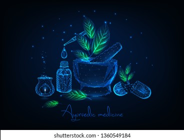 Ayurvedic medicine concept with glowing low polygonal mortar, leaves, essential oil bottle and pipette, herbal pills and aromalamp on dark blue background.  Futuristic design vector illustration.
