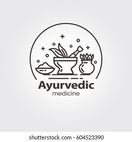 Ayurvedic medicine - logo design vector template. EPS 10 Isolated objects.