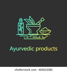 Ayurvedic products - logo design vector template. EPS 10 Isolated objects.