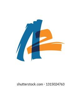 AZ A2 letter logo lettermark sign vector