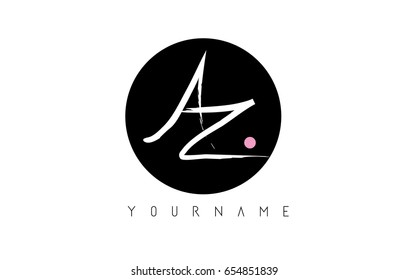 AZ Brush Letter Logo Design with Black Circle and Handwritten Letters.
