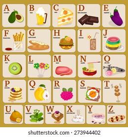 A-Z Cartoon Food Alphabets Illustration, Vector