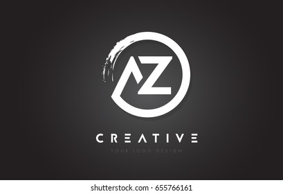 AZ Circular Letter Logo with Circle Brush Design and Black Background.