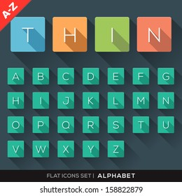 A-Z Flat Icons Alphabet Letter Set with long shadow