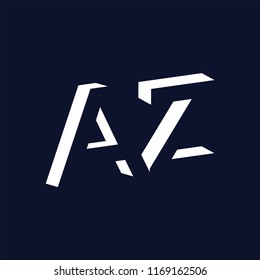 AZ initial letter with negative space logo icon vector template