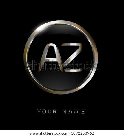 Az Initial Letters Circle Elegant Logo Stock Vector Royalty Free