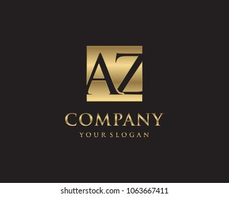 AZ initial letters looping linked box elegant logo golden black background