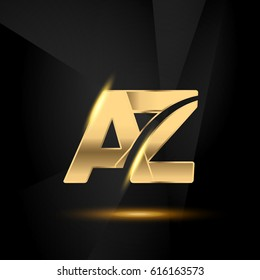 AZ initial letters Swoosh shiny elegant logo golden chrome black background - stock vector