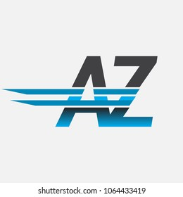 AZ initial logo company name colored black and blue, Simple and Modern Logo Design.