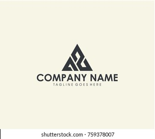 az initial triangle logo design