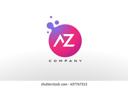 AZ Letter Dots Logo Design with Creative Trendy Bubbles and Purple Magenta Colors.