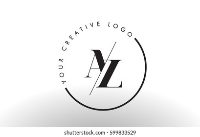 AZ Letter Logo Design with Creative Intersected and Cutted Serif Font.