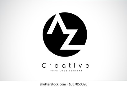 AZ Letter Logo Design inside a Black Circle. Creative Lettering Logo Vector Illustration.