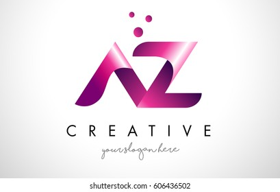AZ Letter Logo Design Template with Purple Colors and Dots