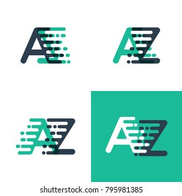 AZ letters logo with accent speed in tosca green and dark blue