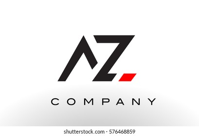 AZ Logo.  Letter Design Vector with Red and Black Colors.
