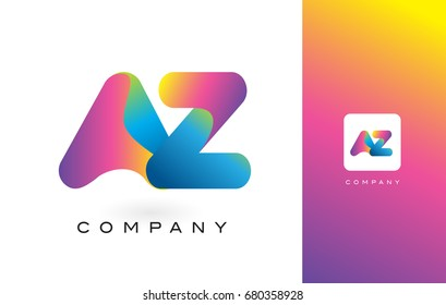 AZ Logo Letter With Rainbow Vibrant Colors. Colorful Modern Trendy Purple and Magenta Letters Vector Illustration.
