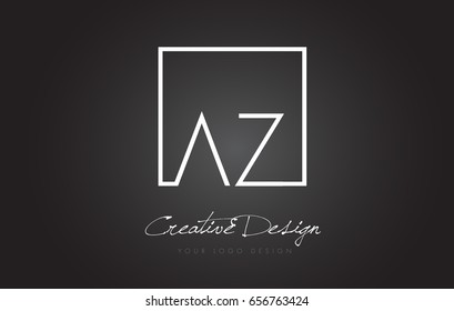 AZ Square Framed Letter Logo Design Vector with Black and White Colors.