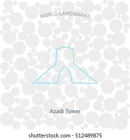 Azadi Tower Landmark icon,  Outline design element for tourism banner, flayer, website background