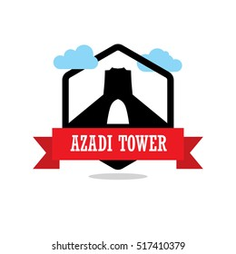Azadi Tower Ribbon banner with clouds. Landmarks vector collection.
