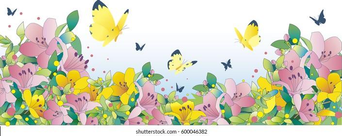 Azalea blooming garden