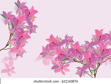 Azalea flowers  hand drawn watercolor brush design isolated picture for object or background