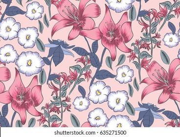 azalea lilly floral allover print design