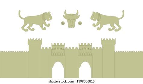Azerbaijan, Baku, old city IcherySheher, double gate tower, fortress walls, emblem of old city, vector illustrate