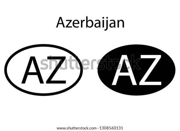 Azerbaijan Country Code Icon Iso Code Stock Vector (Royalty