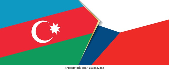 Azerbaijan and Czech Republic flags, two vector flags symbol of relationship or confrontation.