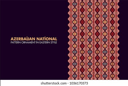 Azerbaijan flag national pattern ornament,  template in Eastern style. floral, greeting card, wallpaper, background, web page. Baku city traditional persian antique decorative arabian geometry