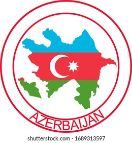 Azerbaijan flag on map of country; isolated on white background. Vector logo sticker button