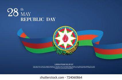 Azerbaijan Flag ribbon banner sticker poster vector illustration isolated background