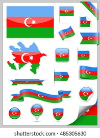 Azerbaijan Flag Set - Vector Collection