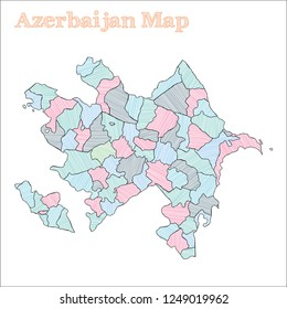 Azerbaijan hand-drawn map. Colourful sketchy country outline. Attractive Azerbaijan map with provinces. Vector illustration.