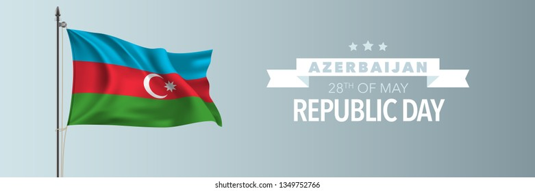 Azerbaijan happy republic day greeting card, banner vector illustration. Azerbaijani national holiday 28th of May design element with waving flag on flagpole