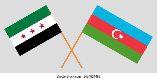 Azerbaijan and Interim Government of Syria. Crossed Azerbaijani and Coalition flags